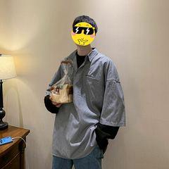 小格子百搭长袖衬衣潮男学生日系假两件衬衫 C201p55控68