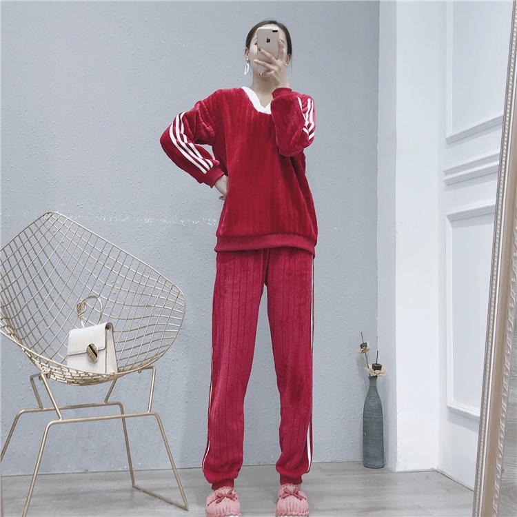硬核 舒适柔软珊瑚绒v领长袖两件套保暖加厚冬季家居服套装女BTB