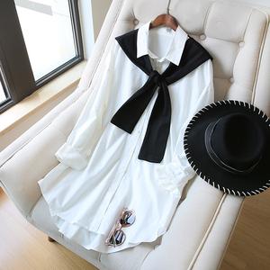 显瘦披肩衬衫裙女长袖宽松中长款韩版2020新款春装bf设计感小众潮