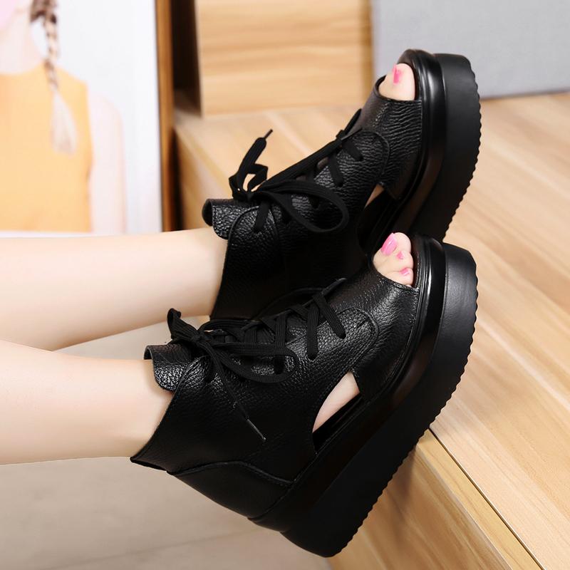 真皮头层牛皮鞋增高6cm女款松糕厚底鱼嘴凉鞋2019新款夏天黑鞋子
