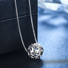Aussie S925 Silver Necklace women's Korean version accessories clavicle chain hollow transfer bead pendant simple fashion silver jewelry