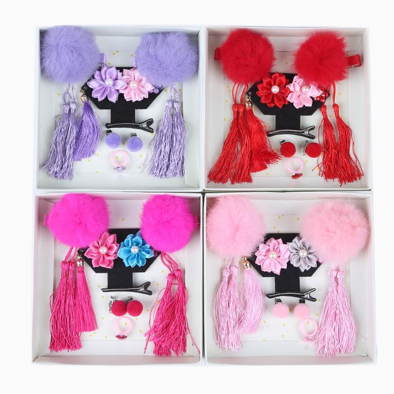 中国风儿童发饰套装 流苏发卡毛球发饰格格头饰儿童发夹 新年礼物