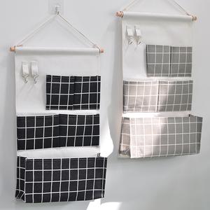 黑白立体五兜挂袋寝室布艺棉麻墙上门后壁挂式收纳挂兜储物整理袋