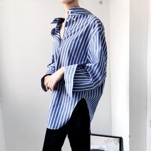 yans定製 秋 隨性 顯瘦bf風時髦 條紋oversize寬鬆長袖襯衫 女