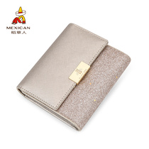 Scarecrow Wallet female Short ins Korean edition student cute small Fresh folding multifunctional 2018 new personality