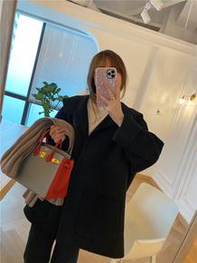 特BORAKOO韩国东大门秋新款 本期挚爱推荐简约黑手工羊绒毛呢大衣