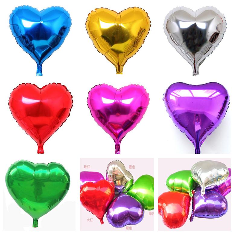 毕业婚礼结婚七夕节装饰布置气球活动单色心形气球 铝膜铝箔气球