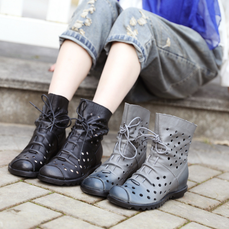 网红女靴2020年新款 夏季镂空凉靴 真皮内增高马丁靴 中跟短靴子图片