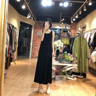 幼瓷针织吊带裙女2021年秋新款 背心连衣裙无袖 长款 打底黑色长裙