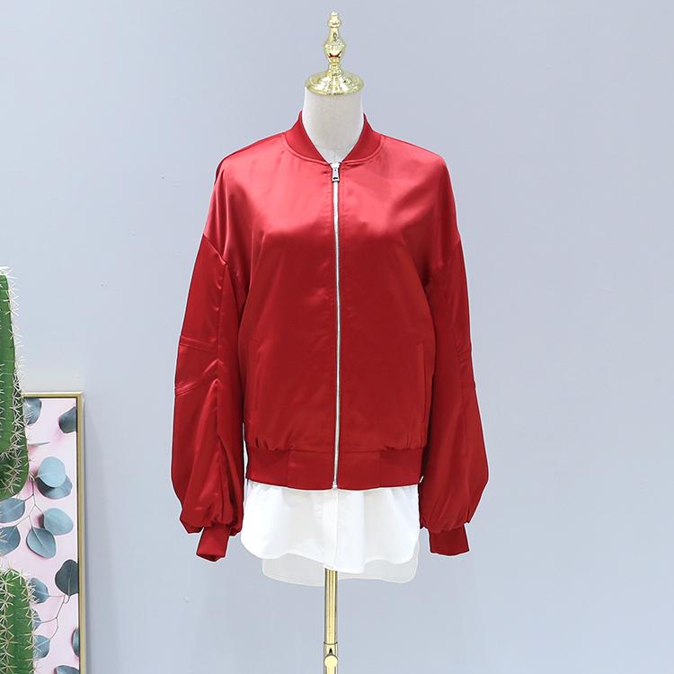 六期●新款外套2018春装品牌折扣女装A8-1901潮拼接灯笼袖棒球服