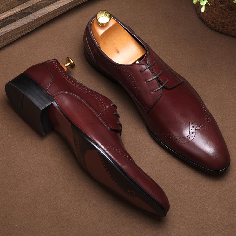 皮鞋男英伦系带商务休闲尖头男鞋子真皮透气婚鞋牛皮德比鞋正装鞋