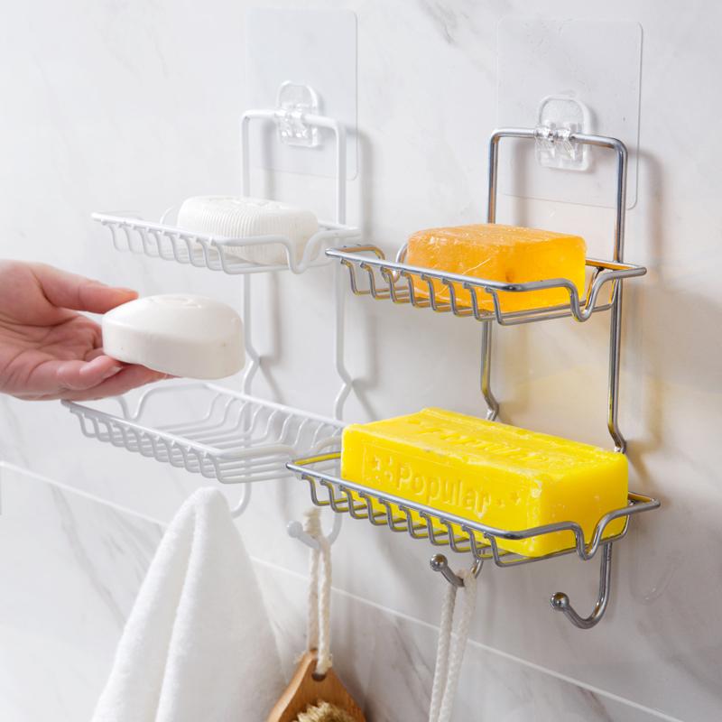 (用1元券)居家家不锈钢双层沥水肥皂架浴室肥皂盒免打孔香皂架香皂盒置物架