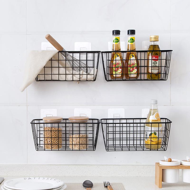 居家家厨房调料挂篮桌面收纳篮收纳筐浴室长方形收纳框壁挂置物架