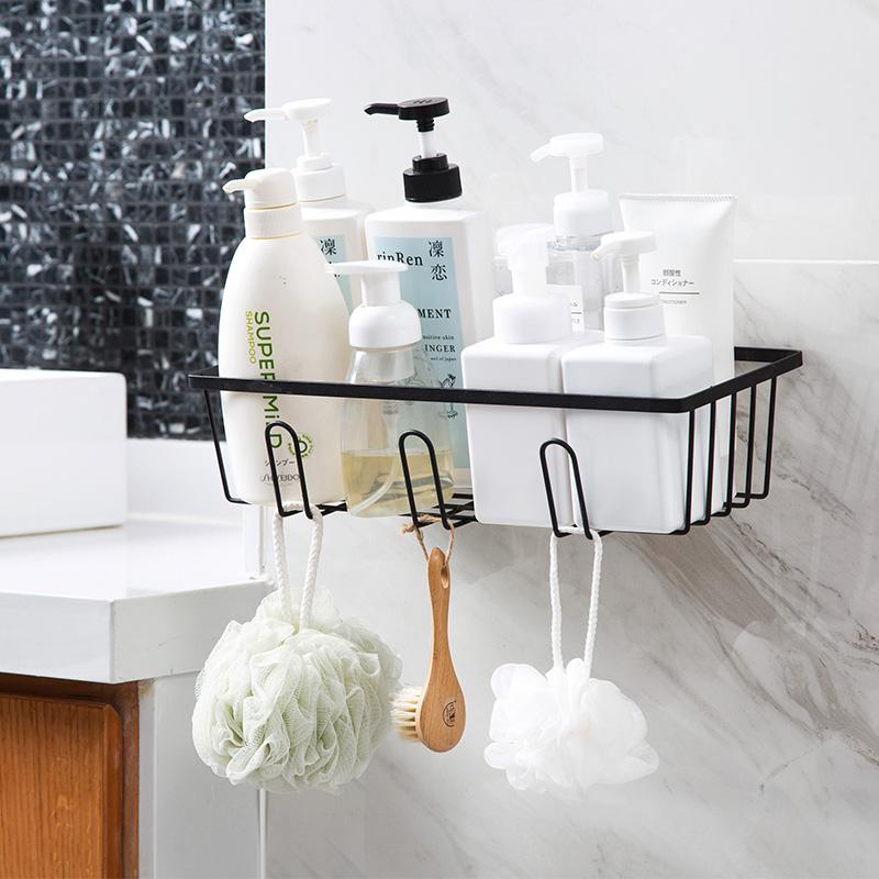 居家家铁艺免打孔浴室置物架卫生间洗漱挂篮壁挂沥水收纳篮收纳架