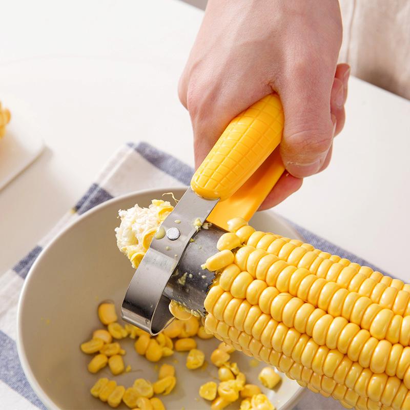 居家家不锈钢剥玉米器厨房脱粒机剥离器创意小工具拔玉米粒玉米刀