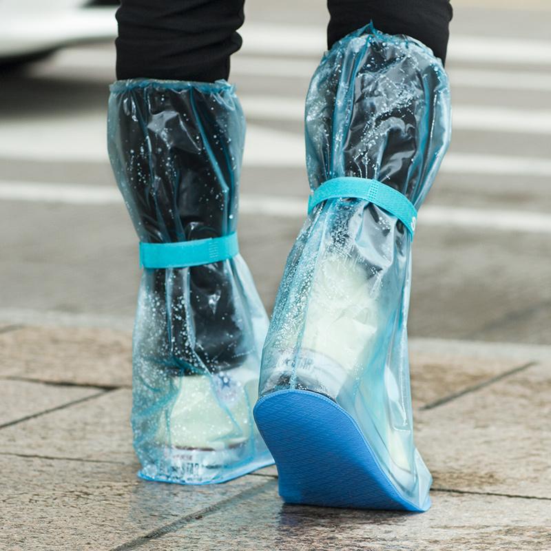 居家家 透明高筒雨靴套男女防滑水鞋 成人户外加厚耐磨防水雨鞋套