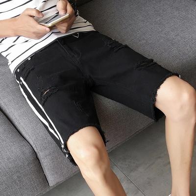 2017新款夏装日系破洞条纹5分裤港风牛仔裤 K205 28到36码 P50