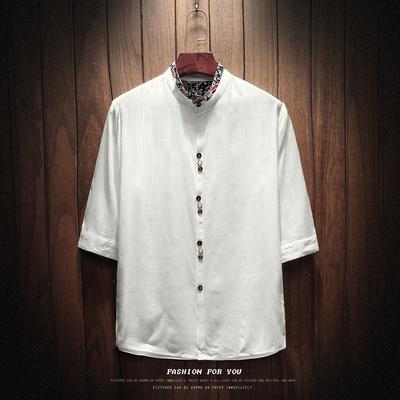 2018夏装新款中国风七分袖亚麻衬衫大码棉麻衬 DC8835 P50