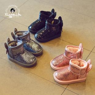 Ребенок снег сапоги 2017 новый зимний осенний девочки плюс бархат ботинки блестки в больших детей ботинки ребенок теплые хлопок обувной