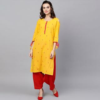 印度女装 民族风套装含上衣裤子 纯棉印花服饰中长款春夏黄色