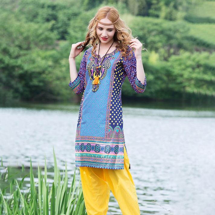 印度女装纯棉印花特色民族风异域风上衣复古舒适七分袖春夏款服饰