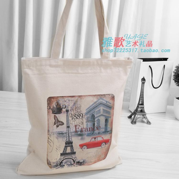 麻布帆布环保购物袋收纳袋布包 耐用方便 简约大气 复古巴黎1889