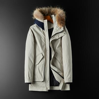 80%白鸭绒冬季中长款连?#36125;?#27611;领(可加毛领)羽绒服外套2050 P350