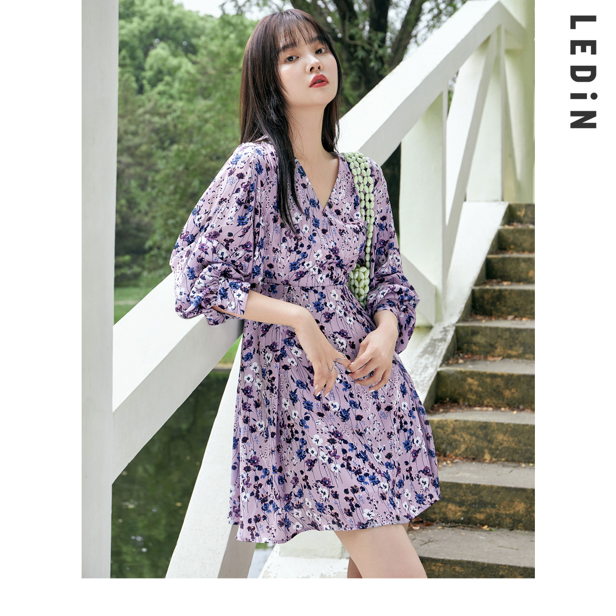 Leding floral dress female 2021 new spring women's elegant floral French niche dress