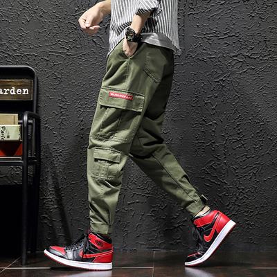 棚拍立 电商A091-K19400-P55 100%棉 新款大码休闲裤 束脚工装裤