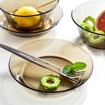 多地包邮 欧式茶色玻璃圆形菜盘深盘沙拉盘子凉菜盘茶色