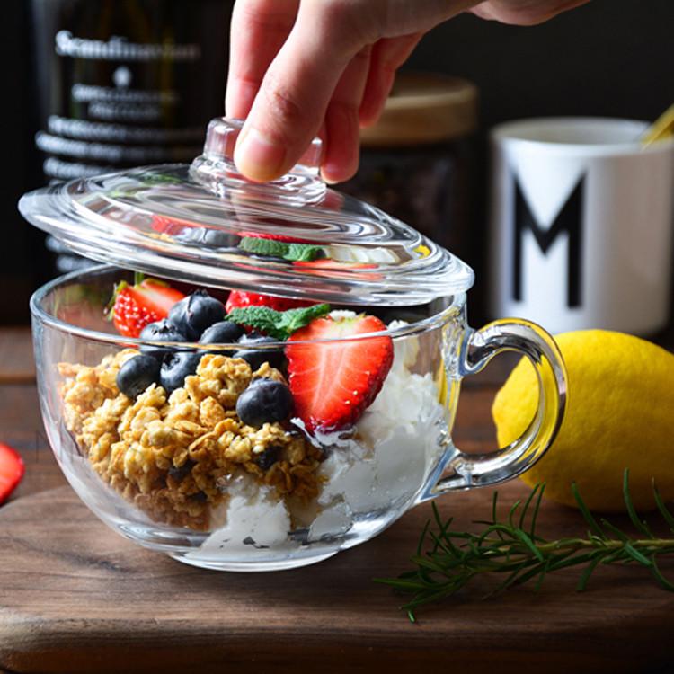 带盖早餐杯麦片杯牛奶钢化玻璃水杯女创意耐热沙拉碗麦片碗泡奶杯图片