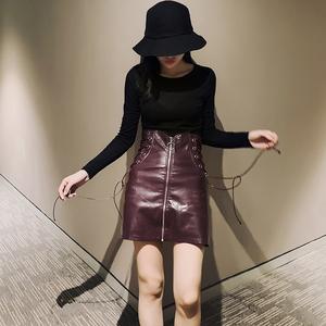 秋冬新款PU皮短裙韩版时尚半身裙侧边绑带高腰拉链显瘦半身女