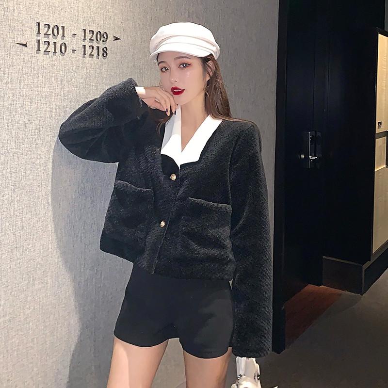 实拍实价冬季新款小香风棉绒翻领短款小外套女韩版宽松夹克上衣潮