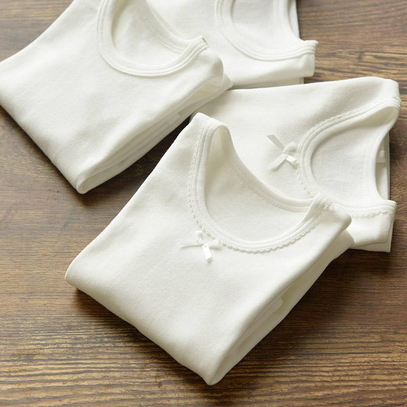 两件装 儿童纯棉长袖T恤 白色棉毛 男童女童秋衣 无荧光剂