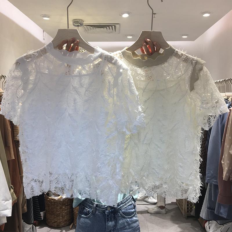 2019春装新款吊带打底衫配钩花镂空流苏短袖蕾丝衫两件套网纱上衣