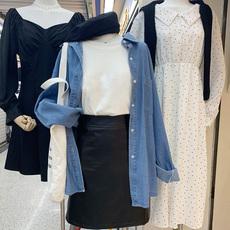 蓝色Polo领长袖牛仔衬衫女2020秋装新款韩版宽松bf风衬衣外套上衣