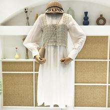两件套中长款 打底衬衫 裙子女装 连衣裙配背心吊带衫 春秋季 新款 长袖