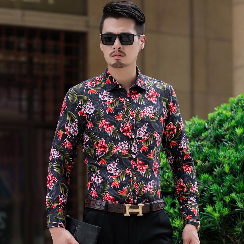 男装秋冬新款花衬衫大码加肥韩版男士长袖衬衫C627p35红色