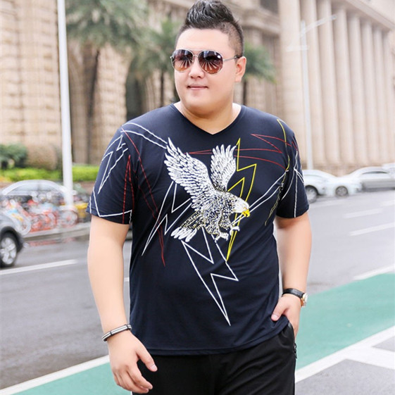 Fat Summer Short Sleeve T-Shirt V-neck plus extra loose Pullover cotton T-shirt with flying eagle pattern half sleeve T-shirt