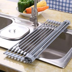 厨房水槽沥水架沥水篮水池硅胶洗菜盆可折叠洗碗卷帘厨盆架滤水垫