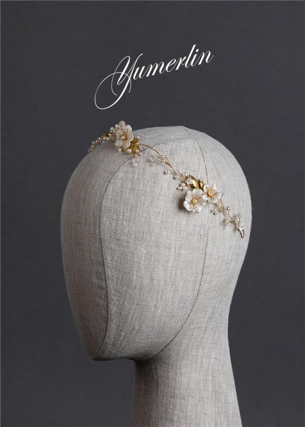 Golden silver leaf crystal pearl HANDMADE PINK FLOWER WREATH retro exquisite bridal headdress modeling