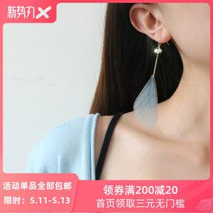 赛赛莉安原创14K包金 超仙少女蓝色蝴蝶翅膀羽毛水晶长款耳环耳夹