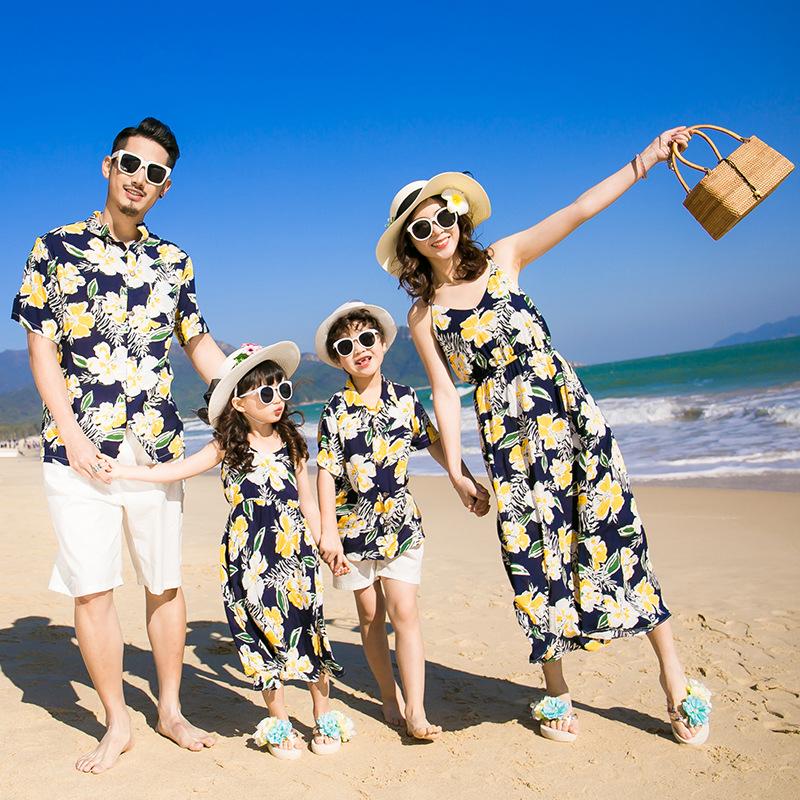 Seaside beach skirt holiday parent-child shirt summer dress a family of three short sleeved suit mother daughter suspender dress
