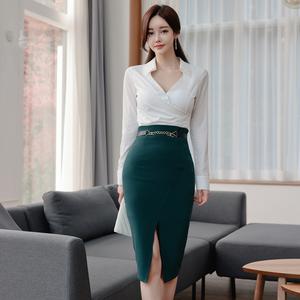 YF22699# 两件套新款韩版修身气质V领衬衫上衣时尚收腰开叉包臀裙套装 服装批发女装直播货源