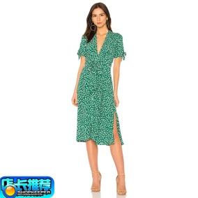 打折2019欧美夏季新款绿色裹身裙