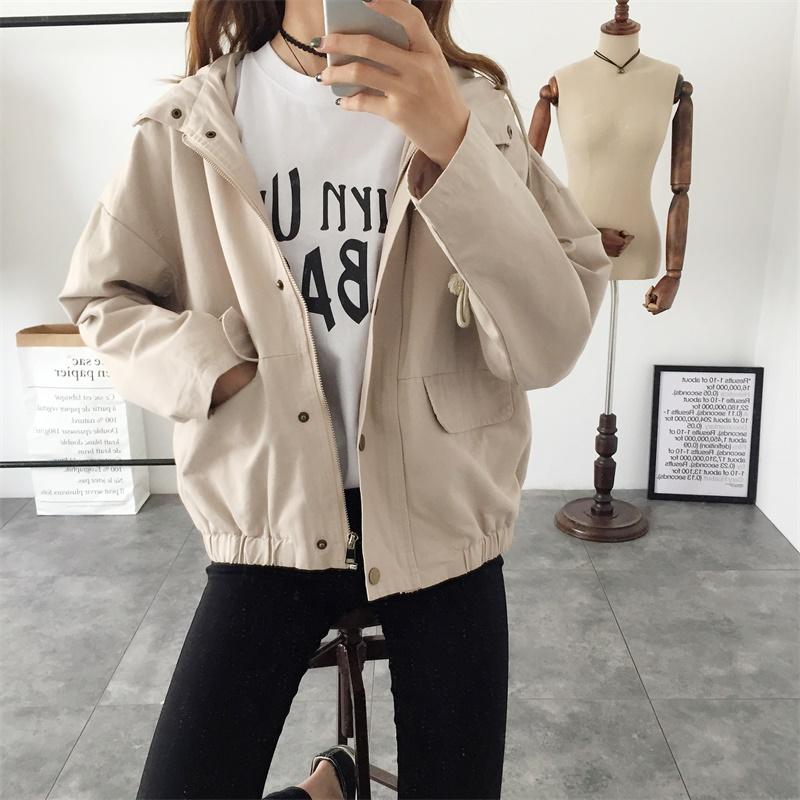 2018春季新款韩版bf原宿学院风宽松休闲工装短款外套连帽学生女装