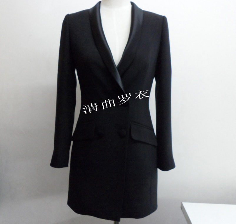 European and American style hemp section green fruit collar double breasted slim bag buttocks show thin temperament medium long business suit coat