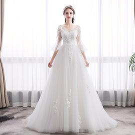 法式轻婚纱女2020新款新娘出门纱森系超仙显瘦简约复古赫本风孕妇