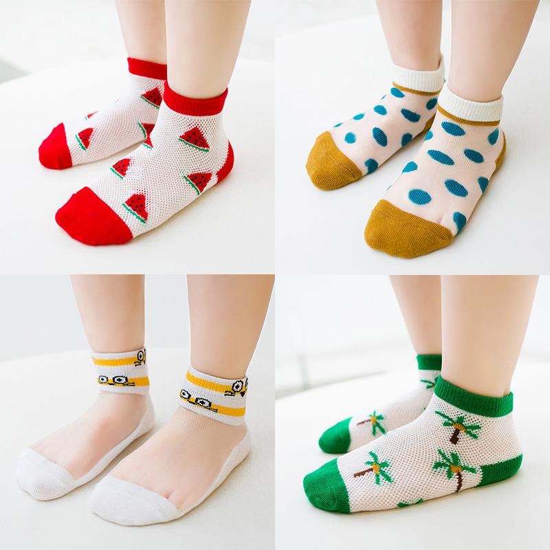 儿童袜2019春夏5双装婴儿宝宝网眼儿童袜子亲子袜薄款女童丝