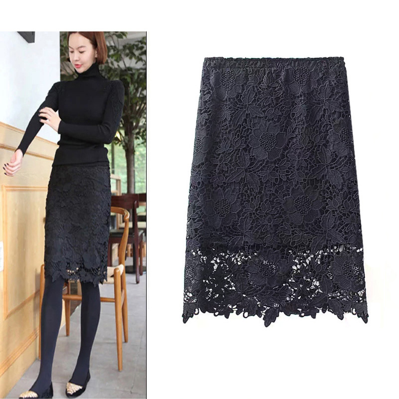 Womens oversized slim fit one step buttock wrap versatile Lace Petticoat water soluble lace lace skirt short skirt medium length skirt